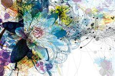 Papier peint déco fleur ethnique : Papier peint nature - Papier peint design - Izoa