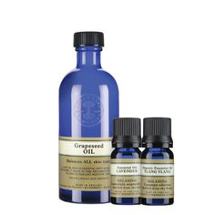 Essential Relaxation Collection: Grapeseed oil, lavender and Ylang Ylang essential oils.  Add a few drops of our aromatic oils to grapeseed oil for a relaxing massage or skin treatment, or vaporize to create a tranquil haven in your home.  Normally $35.75, now $30.00. www.us.nyrorganic.com/shop/dani-jo