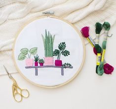 Simple Plant Shelf Modern Embroidery Kit by TataSol on Etsy | Modern Embroidery Kits for Beginners