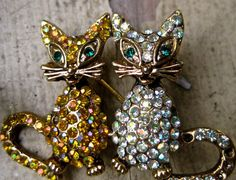 vintage rhinestone cat kitten brooch animal pets by pinksupply, $14.00