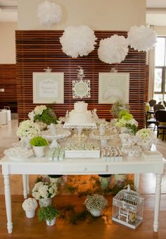 Love the all white decor for a bridal shower.