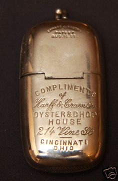 Antique Oyster & Chop House Advertising Match Safe Holder Cincinnati Ohio Haucks -- Antique Price Guide Details Page