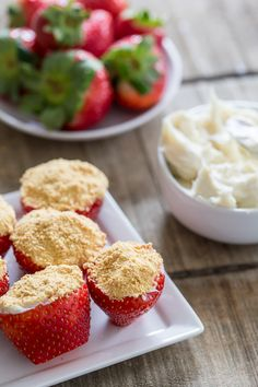 These delicious cheesecake stuffed strawberries are simple to make and perfect for Valentine's Day. Stuffed with sweet cream cheese filling and topped with a dusting of graham cracker crumbs.