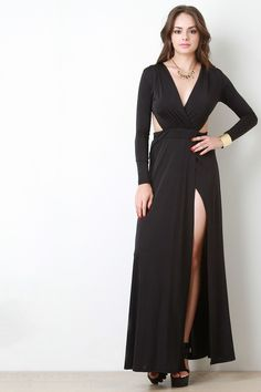 Cross Wrap Deep V Open Back Longsleeve Dress