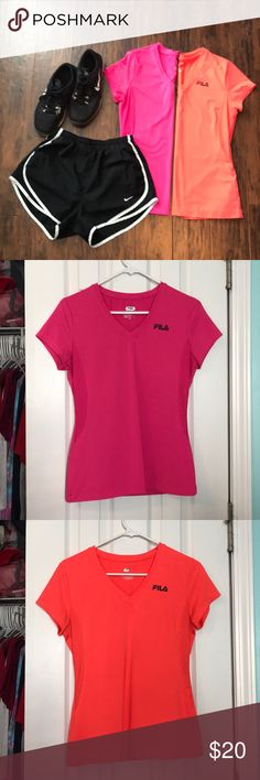 BOGO 1/2 OFF Fila workout top bundle Pink and orange vneck workout tops, tags are slightly worn but otherwise show no obvious signs of wear ✨make an offer!✨ feel free to comment if you have any questions😊 ‼️ALL LISTINGS BUY ONE GET ONE HALF OFF❗️(of the two items, the less expensive item will be half off) just make a bundle and I'll re-price‼️ Fila Tops Tees - Short Sleeve