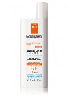 $33.50 | La-Roche Posay Anthelios 50 Mineral Ultra Light Tinted Sunscreen - best featherweight: fast absorbing, has a barely there feel , a subtle tint leaves a veil of color on the skin