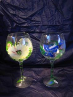 2 Hand Painted Flower Floral Wine Balloon Glass
