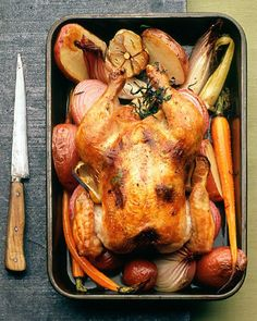 Lemon-Tarragon Roast Chicken with Vegetables