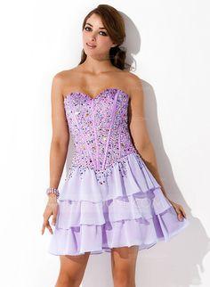 A-Line/Princess Sweetheart Short/Mini Chiffon Homecoming Dress With Beading (022011225)