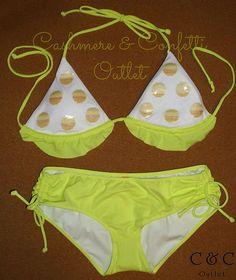 Victorias Secret Bikini SET Sequin Ruffle Top Hot Short Swim Bottoms S XS Yellow  For more discounted Swimwear visit:  www.cashmereconfetti.com