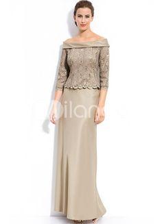 Champagne Off-The-Shoulder Floor Length Satin Mother of the Bride Dress  US$ 120.99