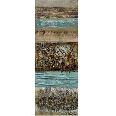 This painting blends multiple images with different textures and tones together to compliment each other. It involves shades of blue and brown and is emphasized by differentiating patterns and use of texture.
