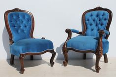 2 Carved Imbuia Victorian Style Buttonback Chairs Condition:  Used  2 Carved Imbuia Victorian Style Buttonback Chairs  size of grandpa chair: 680 L x 660 W x 1200 H  size of grandma chair: 650 L x 660 W x 1000 H  R9999 for the two chairs  Cell 076 706 4700  Tel 021 - 558 7546  www.furnicape.co.za  0414