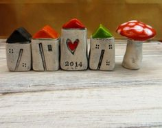 Little Ceramic houses Miniature houses Little rustic houses Ceramic house