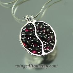 Small JUICY POMEGRANATE garnet silver pendant  Ready by WingedLion, $185.00