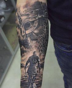 Warrior Tattoo Sleeve, Viking Tattoo Sleeve, Norse Tattoo, Arm Sleeve Tattoos, Tattoo Sleeve Designs, Tattoo Designs Men, Rune Tattoo, Forarm Tattoos, Dope Tattoos
