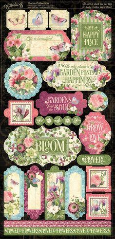 Bloom stickers 2 Graphic 45, Scrapbook Paper Crafts, Scrapbook Supplies, Scrapbooking, Bloom Book, Tea Art, Paper Design, Creative Inspiration, Stickers