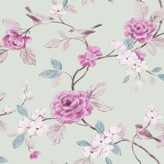 Mint / Pink - 414500 - Lara - Floral - Bird - Leaf - Arthouse Opera Wallpaper