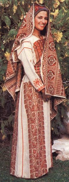 Beautiful Woman in Red&White Traditional Palestinian Dress, mid century photo