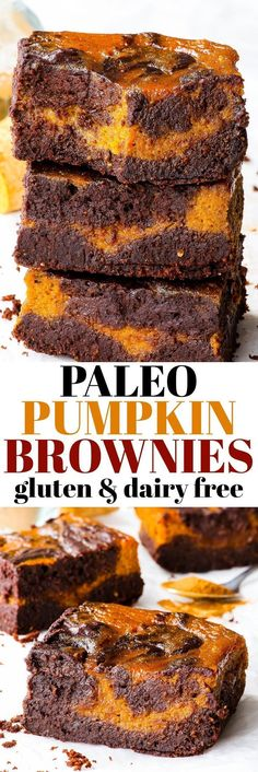 Flourless Paleo Pumpkin Brownies gluten, dairy, peanut, soy & refined sugar free, paleo - These paleo pumpkin brownies combine the very best of fall desserts – with chocolate. Super fudgy healthy brownies meet refined sugar free pumpkin pie filling in t Dessert Party, Paleo Dessert, Fall Dessert Recipes, Easy Fall Desserts, Paleo Brownies, Pumpkin Brownies, Chocolate Pumpkin Pie, Flourless Chocolate, Chocolate Brownies