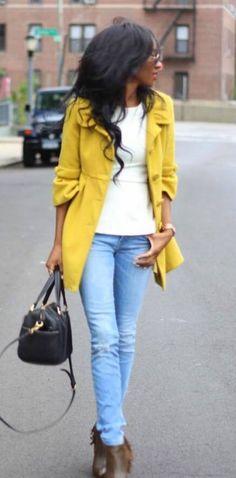 Beautiful yellow coat! stylenina.com
