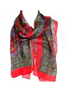 Achat foulard soie rouge à motifs  boutique Mosaik  fs142 2b47446f4a1