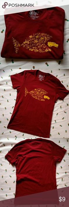 PEDAL PUSHERS BIKE & HUMMER TEE The perfect shirt for an avid biker! Maroon and gold. Excellent condition. (Not North Face brand.) North Face Tops Tees - Short Sleeve
