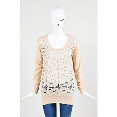 Pre-Owned Stella Mccartney Nwt Salmon Pink Taupe Cotton Floral Cut Out... (765 BRL) ❤ liked on Polyvore featuring tops, sweaters, pink, white cotton tops, floral sweater, embroidered sweaters, taupe sweater and white cotton sweater