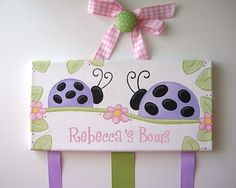 Girls LARGE Hair Bow Holder ... Purple Ladybugs...for kids hairbows clips barrettes and clippies .
