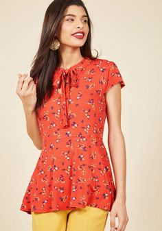 #AdoreWe #ModCloth ModCloth Feeling Feminine Knit Top in Red Floral - AdoreWe.com