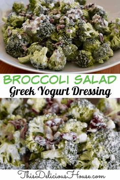 Broccoli Cranberry Salad with a Greek Yogurt Dressing is a lightened up version of broccoli salad with all of the delicious flavor you love! #broccolisalad #broccolicranberry Best Broccoli Salad Recipe, Healthy Broccoli Salad, Easy Salad Recipes, Healthy Recipes, Healthy Dinners, Brunch Recipes, Yummy Recipes, Healthy Food, Dinner Recipes