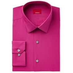 Alfani Slim Fit + Stretch Men's Dress Shirt, ($55) ❤ liked on Polyvore featuring men's fashion, men's clothing, men's shirts, men's dress shirts, pink, mens slim fit shirts, mens slim shirts, mens slim fit dress shirts, mens stretch shirts and mens dress shirts