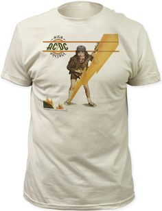 This AC/DC tshirt features the album cover artwork to High Voltage. High Voltage, released in 1976, was the first AC/DC album to be released internationally and sold 3 million copies in the US. Our AC/DC High Voltage men's tee displays the artwork, from the front of the High Voltage album cover, of the band's guitarist, Angus Young, in his classic school boy outfit, playing his guitar behind a lightning bolt. The shirt is made of 100% white fitted cotton for a vintage look and feel…