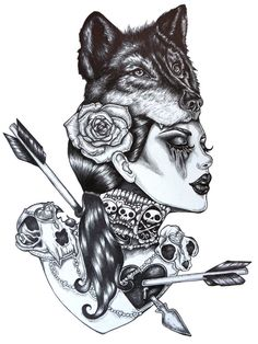 Lone Wolf- 12 x 16 inch Stretched Canvas Print Tattoo art Gothic girl Pin up Girl black and white skulls and arrows