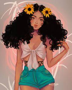 Image about drawing in darwling girls by alda perez Black Love Art, Black Girl Art, Pretty Art, Cute Art, Princesse Disney Swag, Black Girl Cartoon, Black Art Pictures, Afro Art, Digital Art Girl