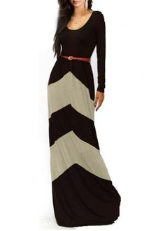 Fascinating Long Sleeve Round Neck Color Block Maxi Dress - USD $21.75