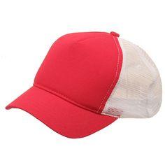 Short Bill Trucker Cap-Red White