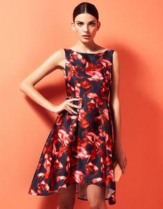 Studio 75 Rose Print Dip Hem Dress