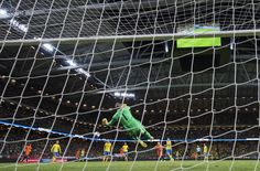 Robin Olsen of Sweden makes a save during the FIFA World Cup Qualifier between Sweden and Netherlands at Friends arena on September 6, 2016 in Solna, Sweden.