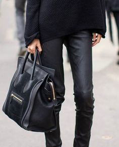 Celine bag + skinny leather leggins