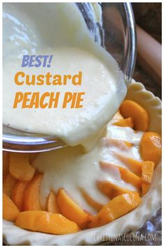 Have been making this pie for over 25 years and it s simply a family favorite! best with fresh peaches but use frozen or canned with great results! peachpie custardpeachpie peaches pie best fresh peach pie recipe with all butter pie crust Best Peach Pie Recipe, Peach Pie Recipes, Custard Recipes, Custard Desserts, Fruit Custard Pie Recipe, Easy Peach Pie, Mini Peach Pies, Peach Custard Pies, Apple Custard Pie