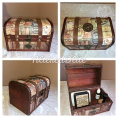 Tim Holtz Decorated wooden ink bottles / ink pads storage chest.  Made from wood with leather style detailing and Tim Holtz design paper and embellishments.  This Chest will hold around 18 bottles of re-inkers / distress ink bottles or a mixture of both as pictured.  CONTENTS NOT INCLUDED , FOR EXAMPLE PURPOSES ONLY   Size: 7 x 4.5 x 4.5 inch.