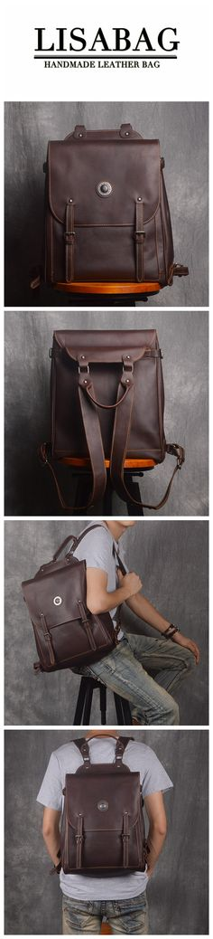 Handcrafted Full Grain Leather School Backpack Unisex Leather Hiking  Backpack 14   Laptop Backpack 9036. LISABAG f042db7170