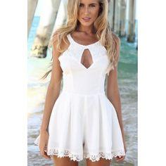 USD12.99Sexy O Neck Tank Sleeveless A Line White Polyester Mini Dress