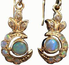 ANTIQUE 9ct Solid Gold FIERY Opal Diamond Earrings womens opal vintage earrings, ladies french hook, Antique Victorian earrings 9k,10k E17