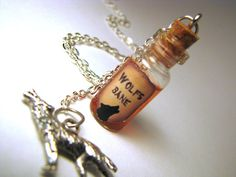Wolfsbane - Werewolf - Glass Bottle Cork Necklace - Potion Vial Charm - Copper Shimmer - Magic Spells