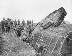 """Mark IV tank """"Hyacinth"""" of H Battalion ditched in a German trench while supporting the 1st Battalion, Leicestershire Regiment, west of Ribecourt, 20 November 1917."""