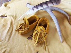Buckskin Baby Moccasins ---- Pre-made Infant Booties Native American Moccasins, Leadership Abilities, Deer Hide, Deerskin, Baby Moccasins, Toddler Shoes, Baby Booties, My Baby Girl, Leather Booties