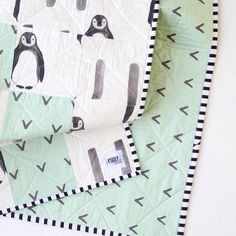 Penguin Nursery Bedding Gender Neutral Crib Bedding by madlywish