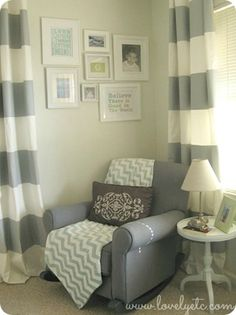 gray and aqua boy nursery with gallery wall